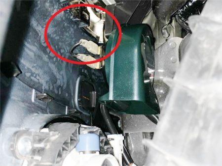 HA36Sアルトワークスホーン取り付けOKな位置