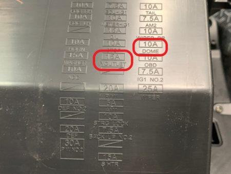 ライズのヒューズのアクセサリー(ACC)電源、常時電源